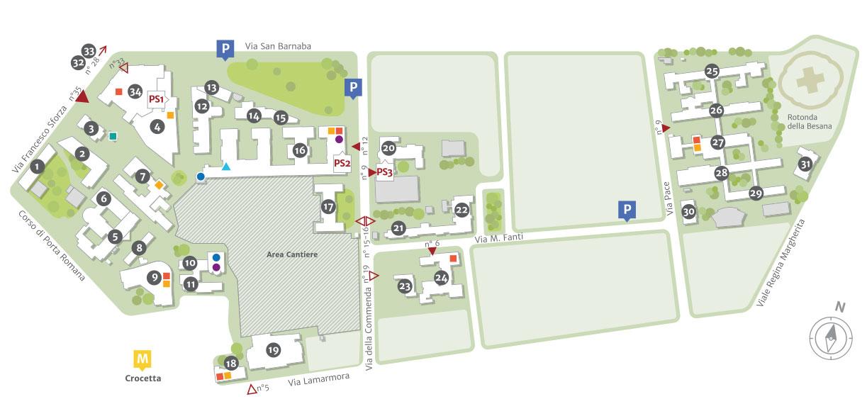 Mappa del Policlinico